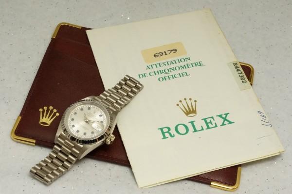 レディース ロレックス OYSTER PERPETUAL デイトジャスト 18KWG(RL-15/1987年)の詳細写真4枚目