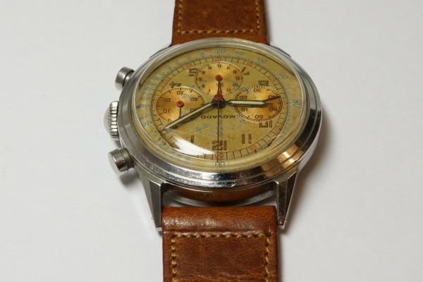 MOVADO Waterproof クロノグラフ  Borgel Case Early Tropical Dial(CH-02/1960s)の詳細写真9枚目