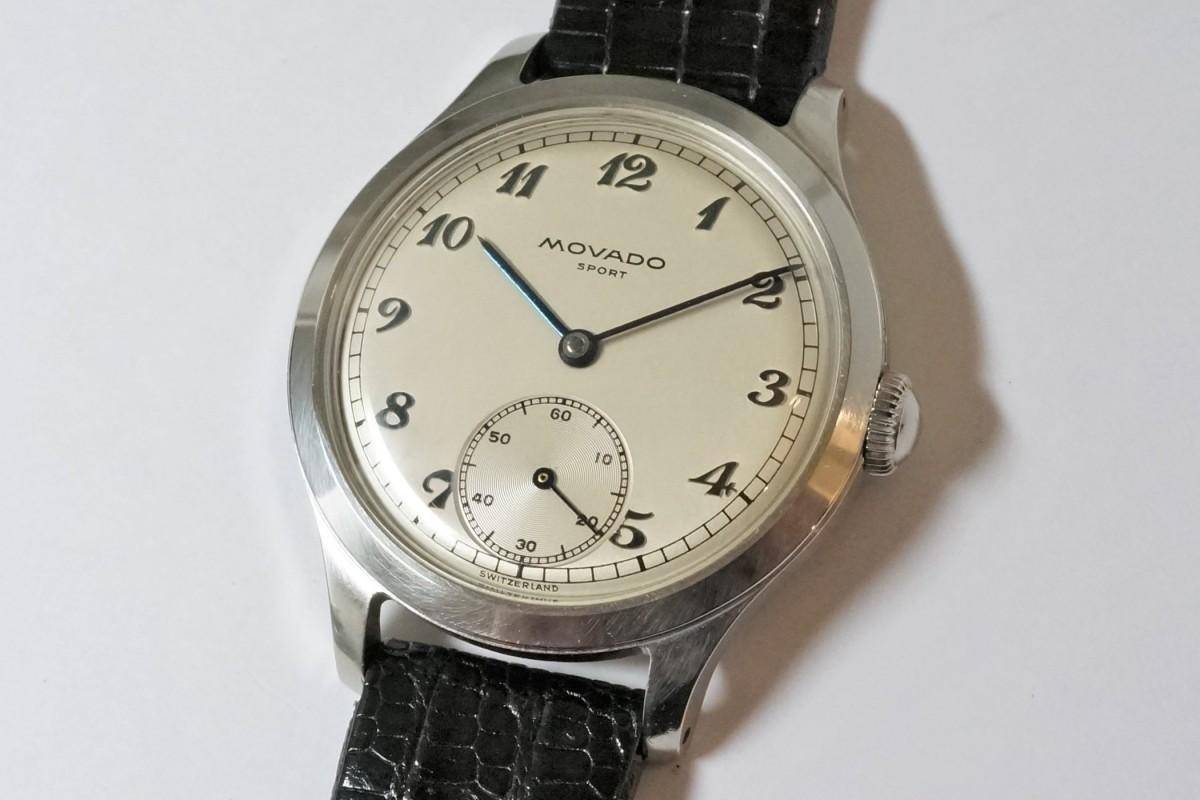 MOVADO Borgel Case Blue Breguet numerals dial Rare(OT-03/1940s)