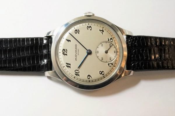 MOVADO Borgel Case Blue Breguet numerals dial Rare(OT-03/1940s)の詳細写真4枚目