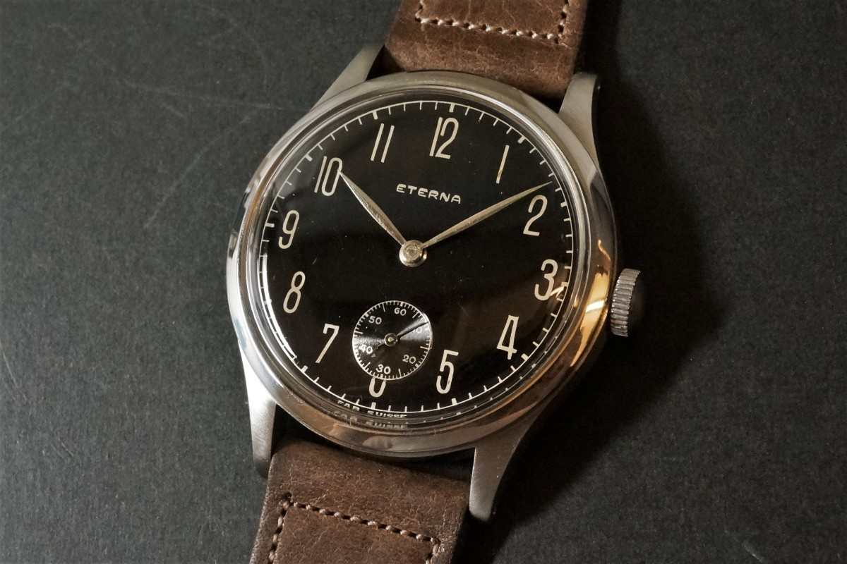 ETERNA Black Gilt Mirror Dial Cal.852 Big Case(OT-02/1940s)