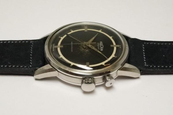 VULCAIN CRICKET ALARM BLACK GILT SECTOR DIAL STEEL(OT-01/1940s)の詳細写真7枚目