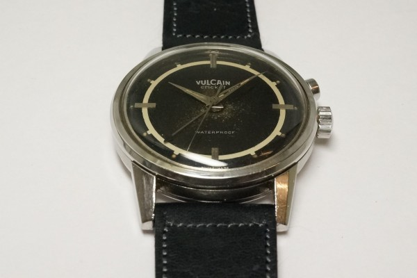VULCAIN CRICKET ALARM BLACK GILT SECTOR DIAL STEEL(OT-01/1940s)の詳細写真9枚目
