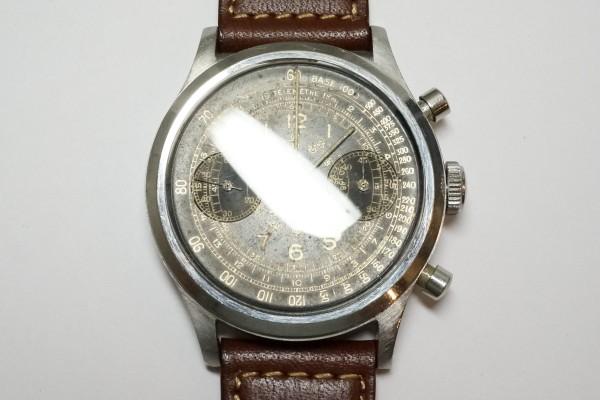 BERNA Cramshell クロノグラフ Black Gilt Snail Dial  Oversized 38mm(CH-01/1940s)の詳細写真5枚目